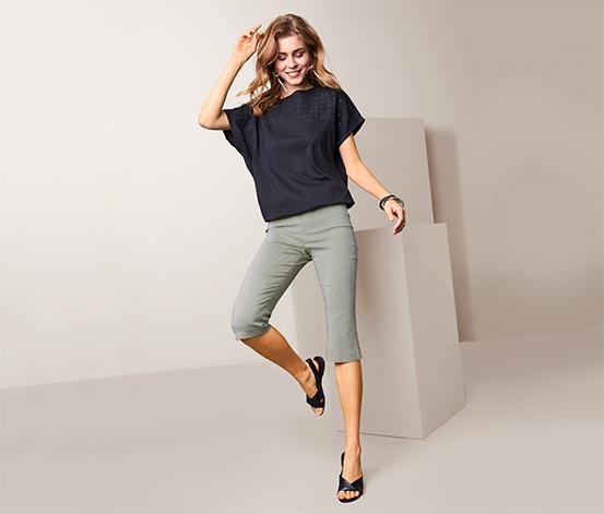 Pantalon stretch 3/4 à rayures