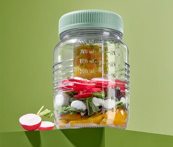 Szklany słoik na przekąski ok. 800 ml z małym pojemnikiem ok. 80 ml