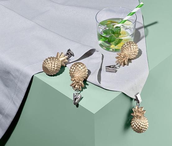 Zestaw 4 ciężarków do obrusów, w kształcie ananasów