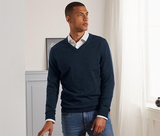 Tchibo Merino-Pullover mit V-Ausschnitt