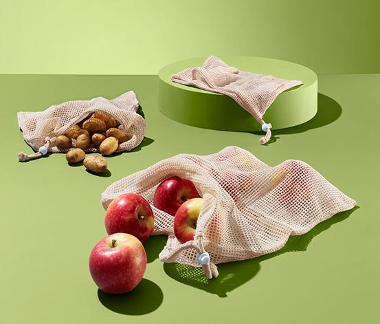 Komplet 3 wielorazowych bawełnianych worków na warzywa i owoce