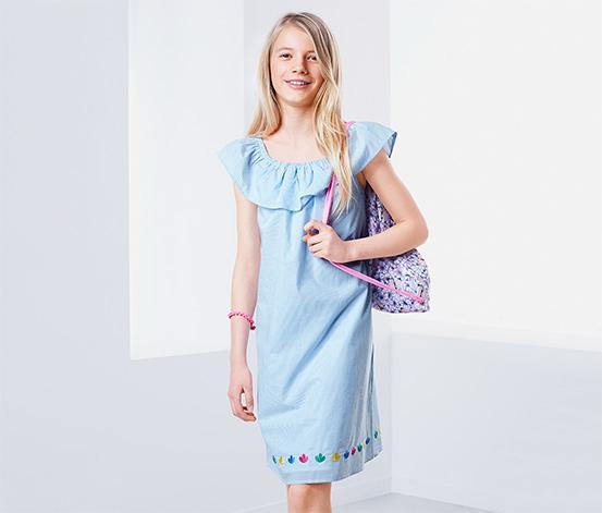 Lányka ruha, világoskék, csíkos