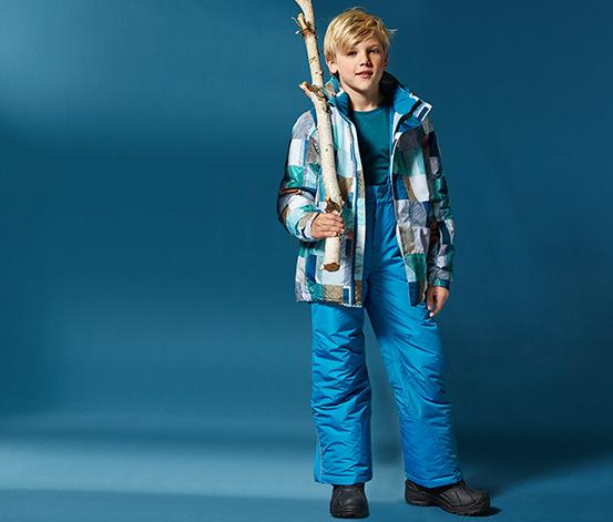 Kurtka narciarska, niebiesko-biało-turkusowa w kratkę