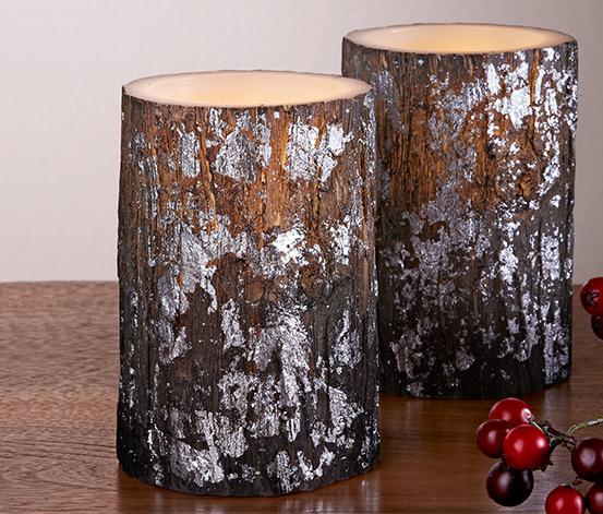 Svíčky z pravého vosku s LED, 2 ks, hnědo-stříbrné