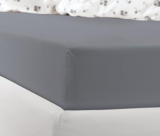 Prześcieradło dżersejowe z gumką, na materace od 140 x 200 do 160 x 200 cm, antracytowe