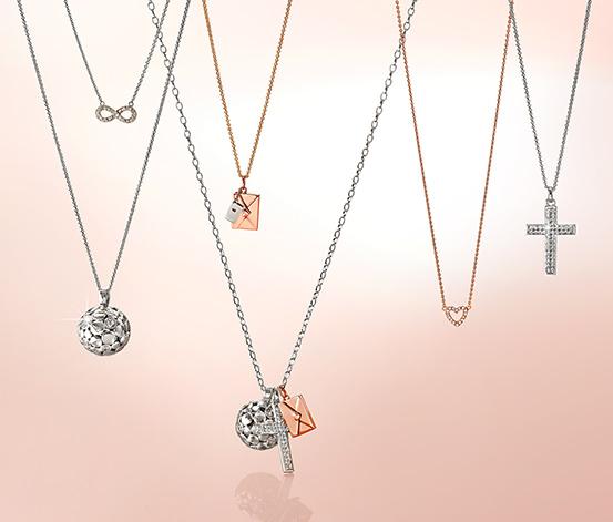 Stříbrný náhrdelník, pozlacený růžovým zlatem, cca 45 cm