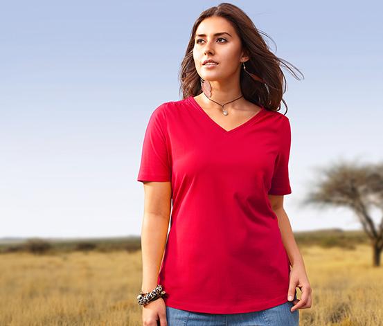 Tričko s výstřihem do V, červené