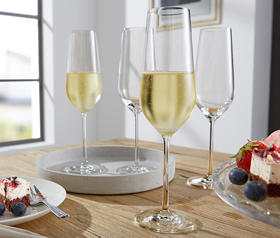 4 Adet Kristal Cam Şampanya Bardağı