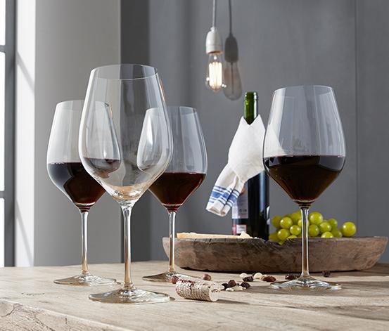 4 Adet Kristal Cam Kırmızı Şarap Kadehi