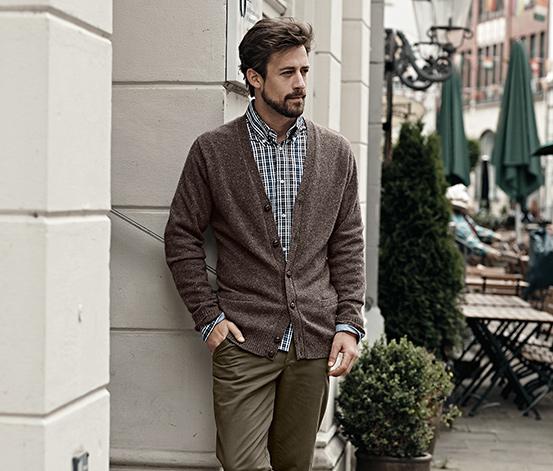 Férfi kötött tweedkardigán, barna