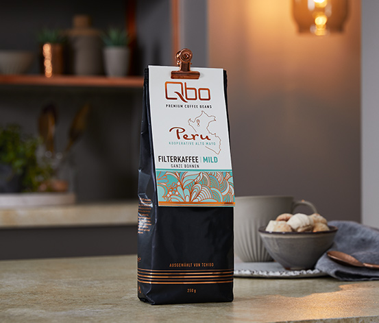 Qbo Premium Coffee Beans »Kooperative Alto Mayo« Filterkaffee Mild, Ganze Bohne