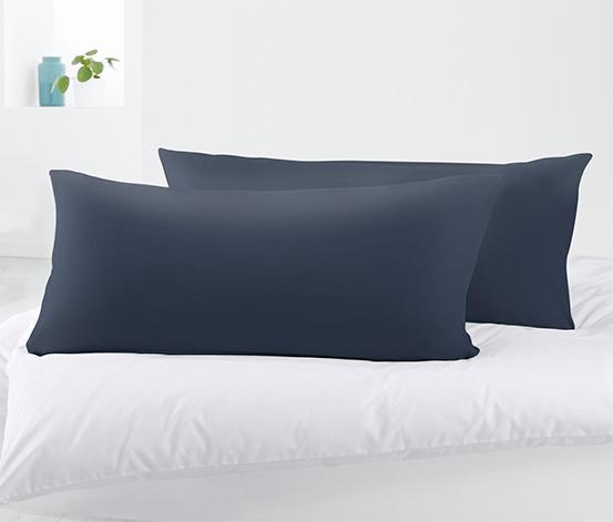 Organik Pamuklu Jersey Yastık Kılıfı, 80x40, Mavi, 2 Adet