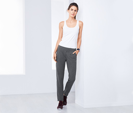 Damskie spodnie dresowe chinosy, szare nakrapiane