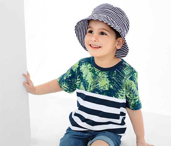 Mavi Beyaz Çizgili Şapka