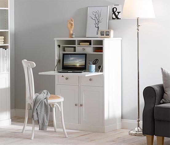 Íróasztallá alakítható komód, fehér
