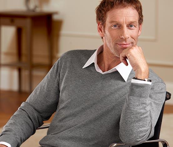 Férfi pulóver, kasmírral, szürke