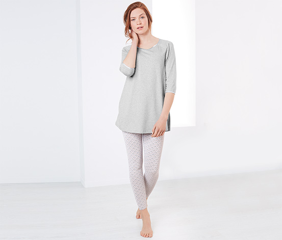 Kırçıllı Gri Organik Pamuklu Pijama Takımı