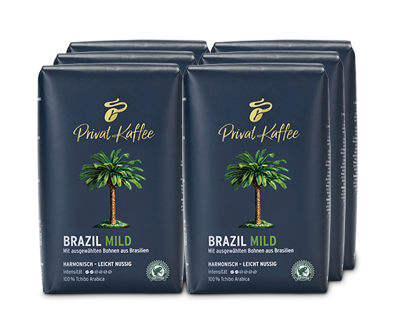Privat Kaffee Brazil Mild - 6 x 500 g Ganze Bohne