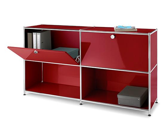 Kombinált polcos szekrény, fém, bordó