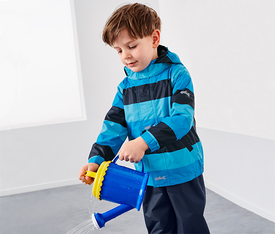 Çocuk Termal Yağmurluk, Turkuaz-Mavi Çizgili