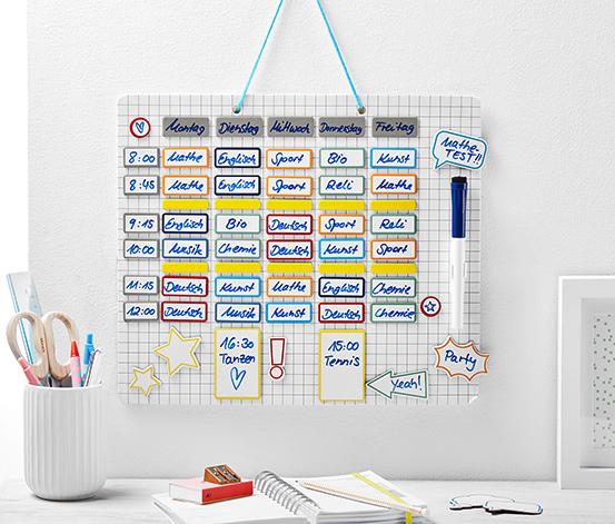 Magnetická tabuľa s plánovačom školských a voľnočasových aktivít