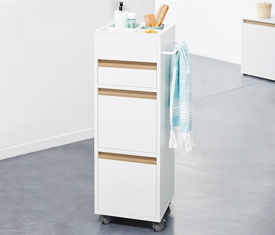 Fürdőszobai gurulós tároló szekrény