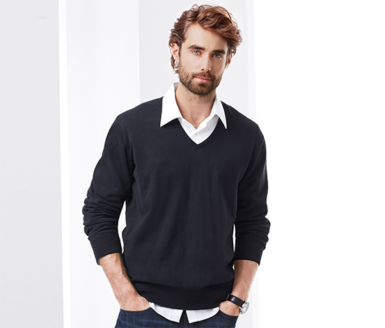Férfi pulóver, V-nyakú, sötétkék