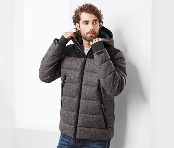Férfi steppelt termo kabát, szürke