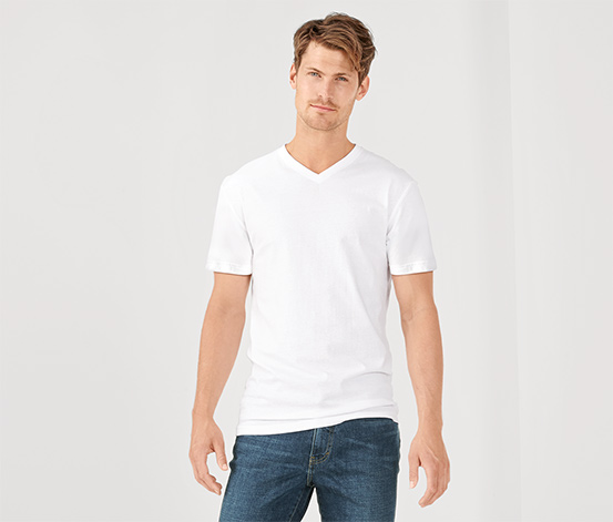 V Yaka Tişört, Beyaz, 2 Adet