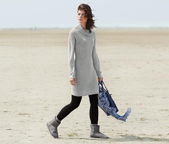 Női kötött hosszú pulóver, világosszürke