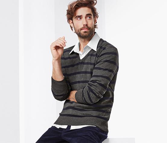 Férfi pulóver, V-nyakú, csíkos
