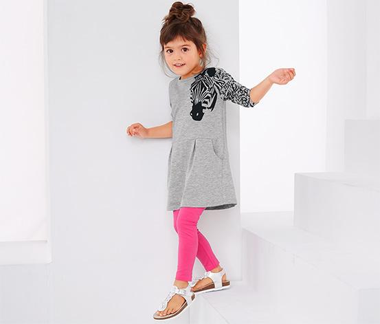 Gri Pembe Organik Pamuklu Taytlı Jersey Elbise