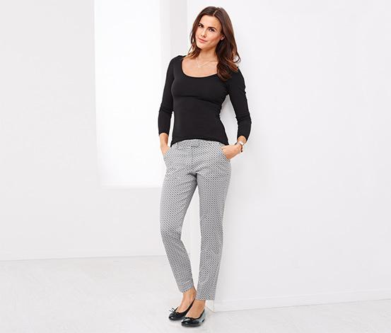 Puantiyeli Siyah-Kırık Beyaz Sigaret Pantolon