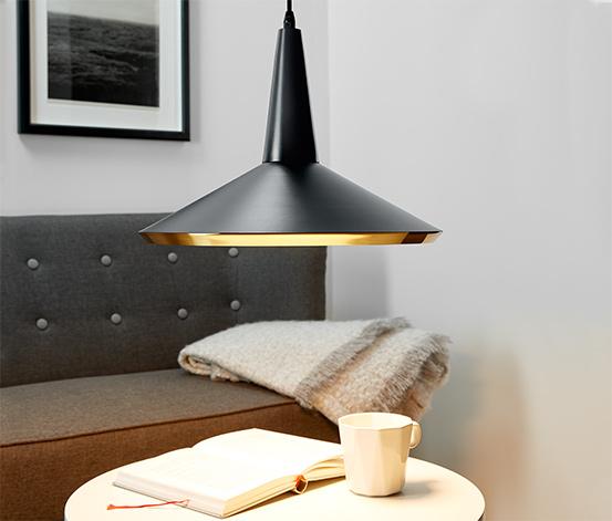 LED-es függőlámpa, fekete, fém