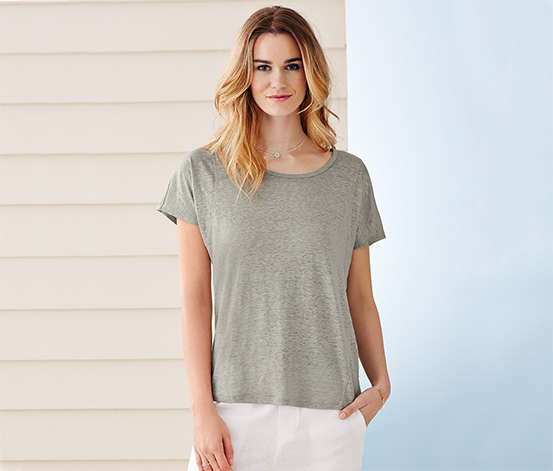 Lněné tričko, světle šedé