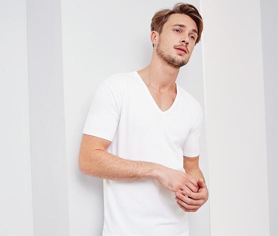 2 férfi póló szettben, V-nyakú, fehér