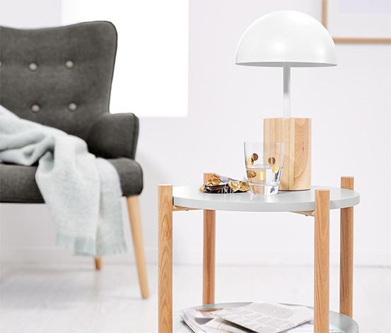 Lampa stołowa LED z drewnianą nogą
