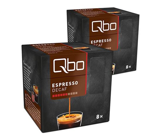 Qbo Espresso Decaf 2x8 Cups RA