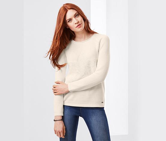 Női kötött pulóver, mintás, törtfehér