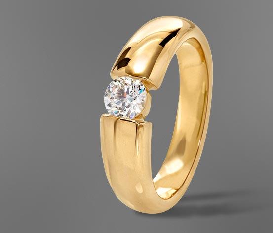 Ezüst gyűrű, aranyozott, cirkóniával