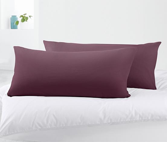 Organik Pamuklu Jersey Yastık Kılıfı, Mor, 80x40 cm, 2 Adet