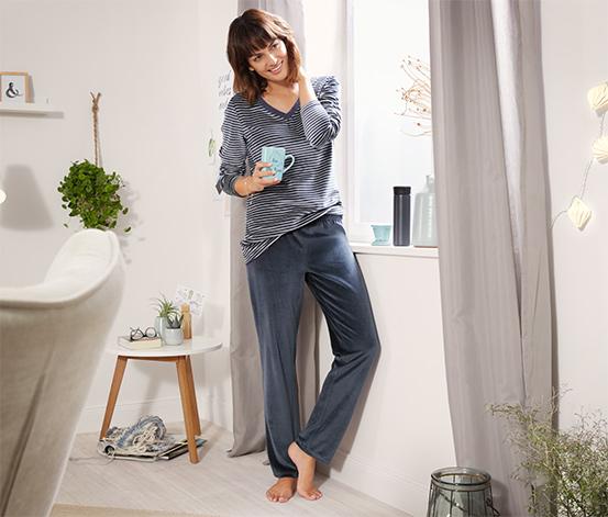 Kırçıllı Gri-Mavi Organik Pamuklu Kadife Pijama Takımı