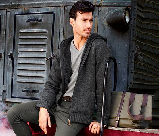 Rozpinany sweter z kapturem na ciepłej podszewce z pluszu