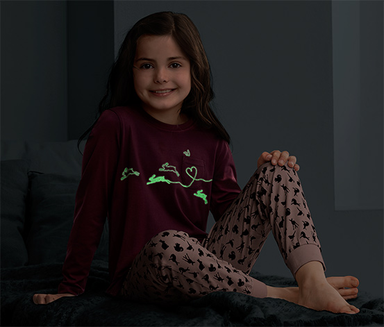 Organik Pamuklu Pijama Takımı, Glow in the dark, Bordo-Pembe