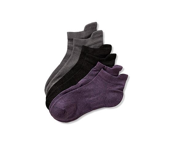 Spor Çorap,Kırçıllı gri-Kırçıllı lila-Siyah, 3 Çift