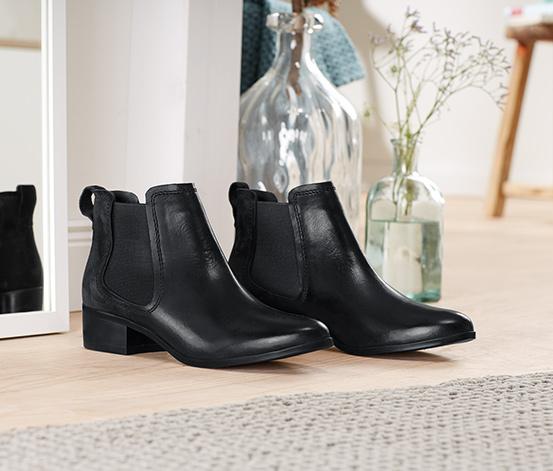 1 Paar Leder-Stiefeletten, schwarz