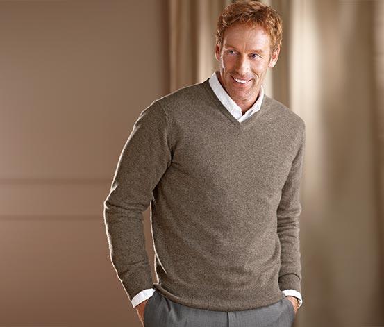 Pánský kašmírový pulovr, béžový