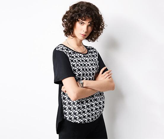 Dokuma Bluz, Siyah-Beyaz