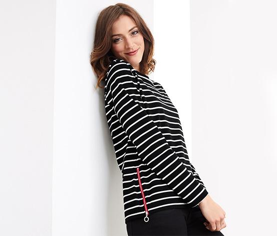 Organik Pamuklu Sweatshirt, Siyah-Beyaz