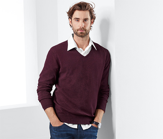 Férfi pulóver, V-nyakú, bordó
